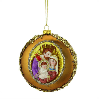 """4"""" Joseph  Mary and Baby Jesus Sequin Religious Christmas Glass Disc Ornament"""