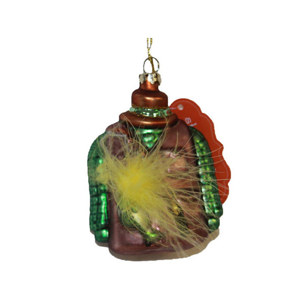 "4"" Maroon and Green Fisherman's Vest with FeatherGlass Christmas Ornament"""