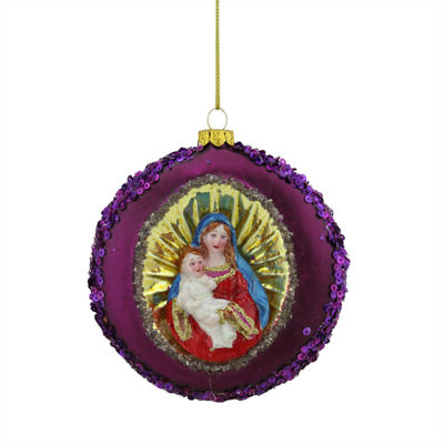"4"" Mary and Baby Jesus Sequin Religious ChristmasGlass Disc Ornament"""