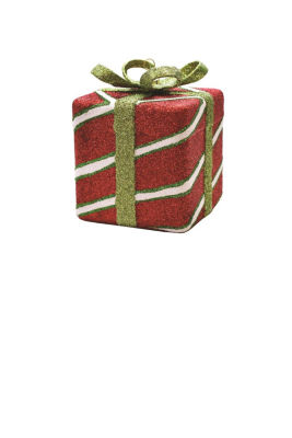 "4"" Merry & Bright Red  White and Christmas Green Glitter Stripe Shatterproof Gift Box Christmas Ornament"""