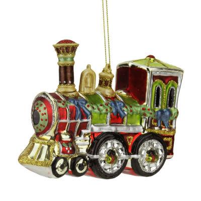 """4"""" Multi-Color Glass Train Decorative Christmas Ornament"""