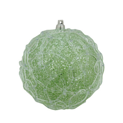 "4"" Pastel Dreams Soft Green Glittered Swirl Design Christmas Ball Ornament"""
