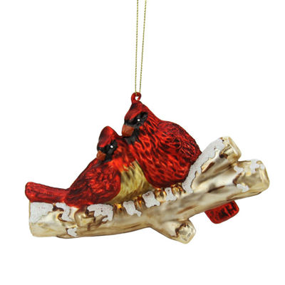 "4"" Red Glitter Cardinal Birds on Snowy Branch Glass Christmas Ornament"""