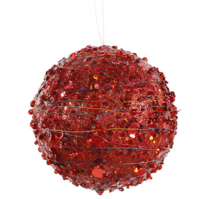 "4"" Red Sparkle Glitter and Sequin Kissing Christmas Ball Ornament"""
