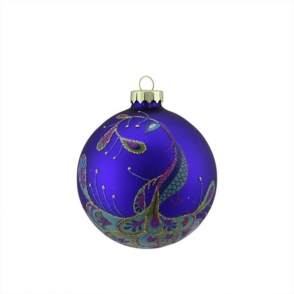 "4"" Regal Peacock Blue Glittered Glass Ball Christmas Ornament"