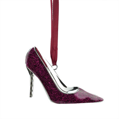 "4"" Regal Silver-Plated Glittered Magenta StilettoOrnament with European Crystals"""