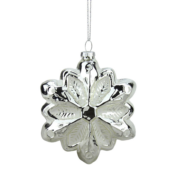 "4"" Silver and White Glass Snowflake Christmas Ornament"""
