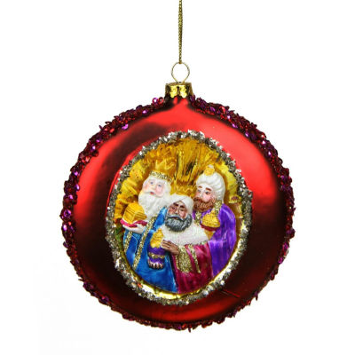 """4"""" Three Wise Men Sequin Religious Christmas Glass Disc Ornament"""