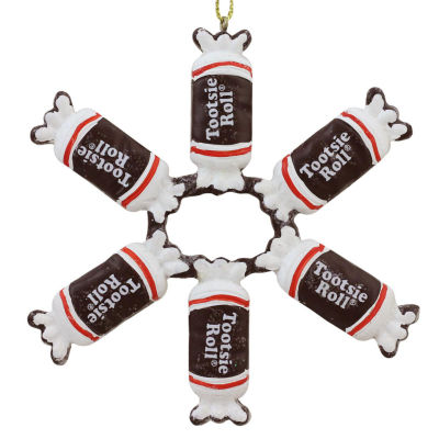 """4"""" Tootsie Roll Original Chewy Chocolate Candy Christmas Snowflake Ornament"""""""