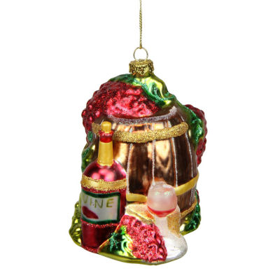 "4"" Tuscan Winery Red Wine Barrel Glass Christmas Ornament"""