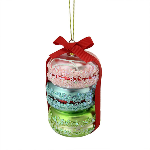 "4.25"" Dessert Delight Pink  Blue and Lime Green Glass Macaroon Christmas Ornament"""