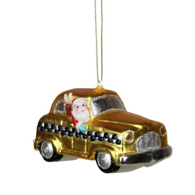 "4.25"" Glass Santa in Yellow  Silver and Black Checkered Taxi Cab Christmas Ornament"""
