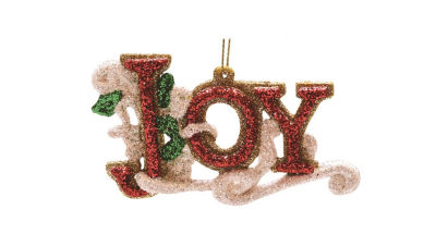 "4.25"" Merry & Bright Red  White and Green Glitter Joy Inspirational Christmas Ornament"