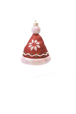 "4.25"" Merry & Bright Red  White and Green Glitter Shatterproof Christmas Hat Ornament"