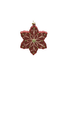 "4.25"" Merry & Bright Red  White and Green Glitter Shatterproof Snowflake Christmas Ornament"