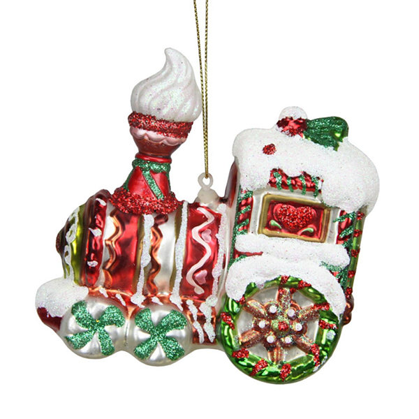 "4.25"" Peppermint Twist Red  White and Green Glittered Glass Candy Cane Train Christmas Ornament"""