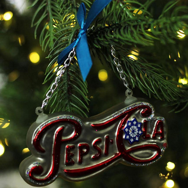 "4.25"" Silver Pepsi Cola Script Logo Word Sign Decorative Glass Christmas Ornament"""