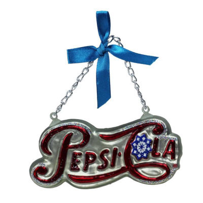 "4.25"" Silver Pepsi Cola Script Logo Word Sign Decorative Glass Christmas Ornament"""