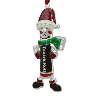 "4.25"" Silver Plated Holiday Tootsie Roll Man CandyLogo Christmas Ornament with European Crystals"""