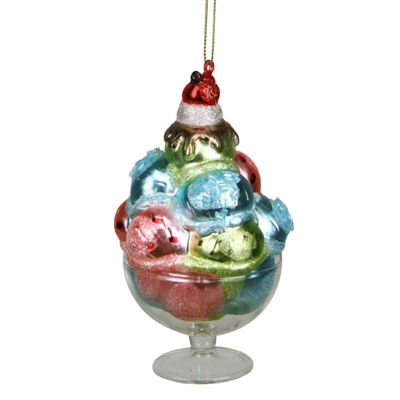 4.5'' Desert Delight Pink  Blue and Green Glass Ice Cream Christmas Ornament