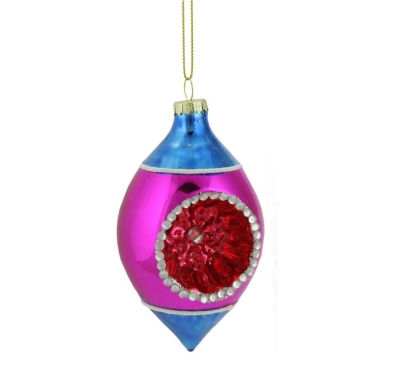 "4.5"" Blue  Pink and Red Retro Reflector Glass Teardrop Christmas Ornament"""