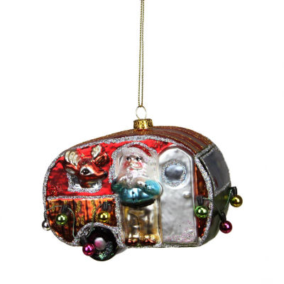 "4.5"" Camper Van Trailer with Santa and Reindeer Glass Christmas Ornament"""