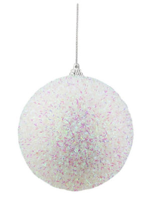 """4.5"""" Decorative Iridescent White  Pink and Green Bristled Christmas Ball Ornament"""""""