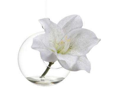 """4.5"""" Embellished White Amaryllis Flower & Glass Vase Christmas Ornament"""""""