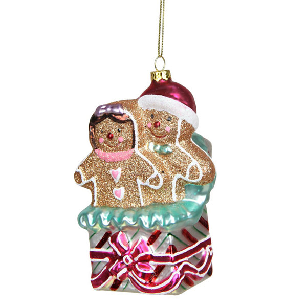 "4.5"" Glittered Gingerbread Man and Woman in Gift Box Glass Christmas Ornament"""