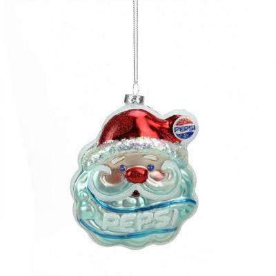 "4.5"" Glittered Santa Claus Head Pepsi Christmas Ornament"""