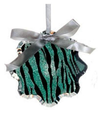 "4.5"" Glittered Teal Zebra Print Snowflake Prism Christmas Ornament"""