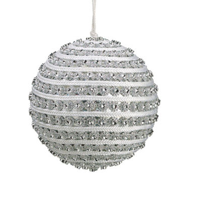 "4.5"" Glitzy and Glamorous Spiral Silver RhinestoneChristmas Ball Ornament"""