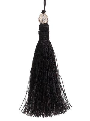 """4.5"""" Jeweled Black Tassel Christmas Ornament"""""""