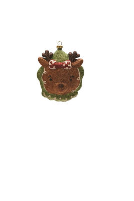 """4.5"""" Merry & Bright Green  Brown and Red GlitteredShatterproof Reindeer Head Christmas Ornament"""""""