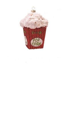 "4.5"" Merry & Bright Red  Green and White GlitteredShatterproof ""Fresh Pop Corn"" Christmas Ornament"""