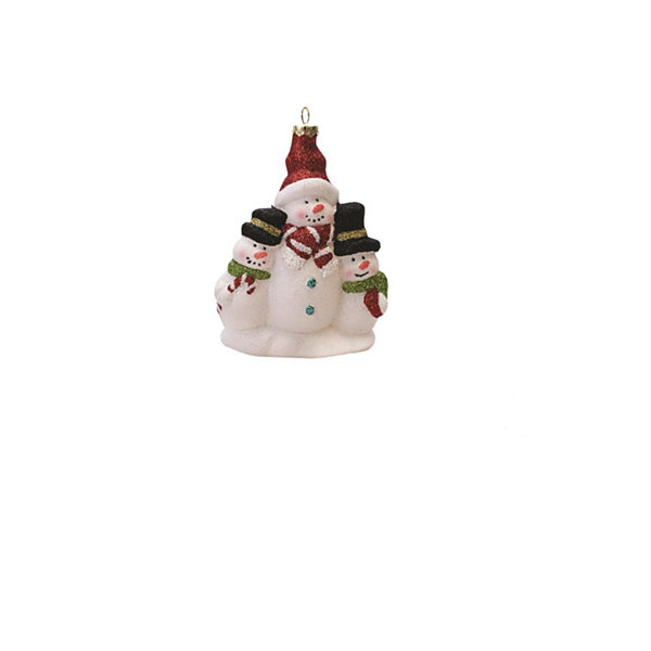 "4.5"" Merry & Bright White  Red and Green Glitter Shatterproof Snowman Family Christmas Ornament"""