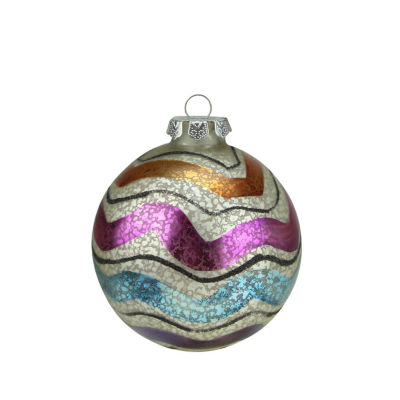 "4.5"" Merry & Bright White Mercury Glass Striped Christmas Ball Ornament"""
