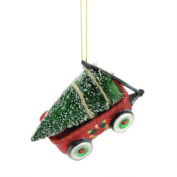 "4.5"" Red  Green and Black Glittered Glass Wagon with Tree Christmas Ornament"""