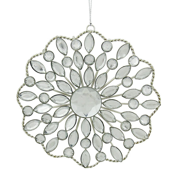 "4.5"" Silver Jeweled Rhinestone Medallion ChristmasOrnament"""