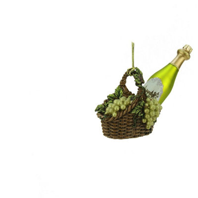 "4.5"" Tuscan Winery Green Glass Wine Bottle in Basket Christmas Ornament"""
