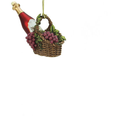 """4.5"""" Tuscan Winery Red Glass Wine Bottle in BasketChristmas Ornament"""""""