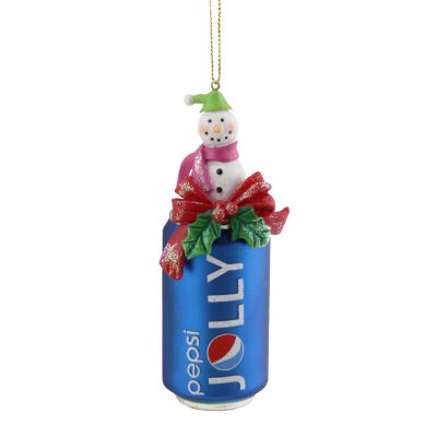 """4.75"""" Blue Jolly Pepsi Can with Snowman Topper Decorative Glass Christmas Ornament"""""""