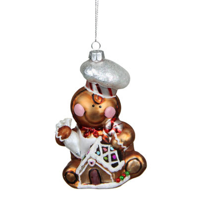 "4.75"" Gingerbread Kisses Glass Chef Decorative Christmas Ornament"""