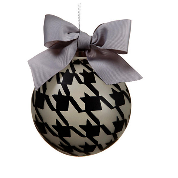 "4.75"" Gray and Black Pied-A-Poule Glass Ball Christmas Ornament"""