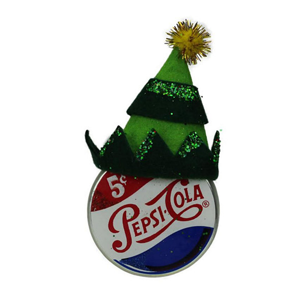 "4.75"" Green Jester Hat on Pepsi Logo Puck Shaped Decorative Glass Christmas Ornament"""