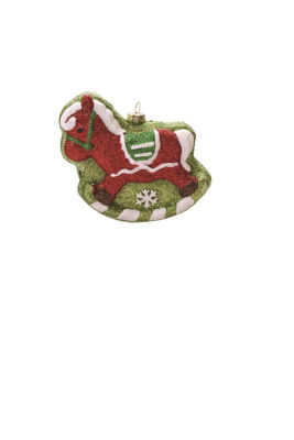 "4.75"" Merry & Bright Red  Green and White GlitterShatterproof Rocking Horse Christmas Ornament"""
