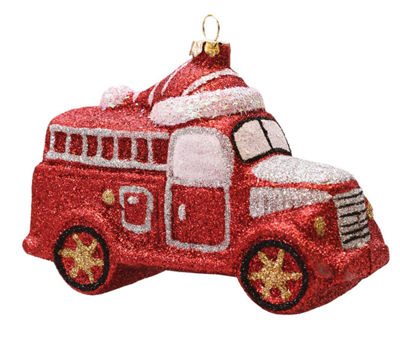 "4.75"" Merry & Bright Red  Silver and White GlitterShatterproof Fire Truck Christmas Ornament"""