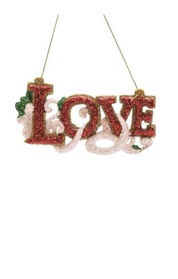 "4.75"" Merry & Bright Red  White and Green Glitter""Love"" Inspirational Christmas Ornament"""