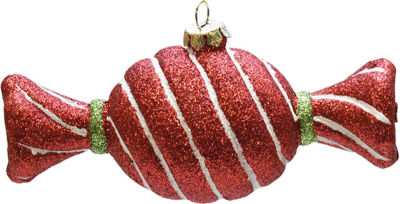 "4.75"" Merry & Bright Red  White and Green GlitterStripe Shatterproof Christmas Candy Ornament"""