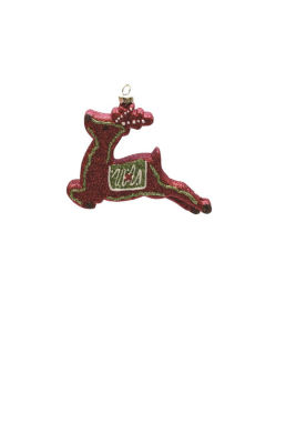 "4.75"" Merry & Bright Red  Christmas Green and White Glitter Shatterproof Reindeer Christmas Ornament"""